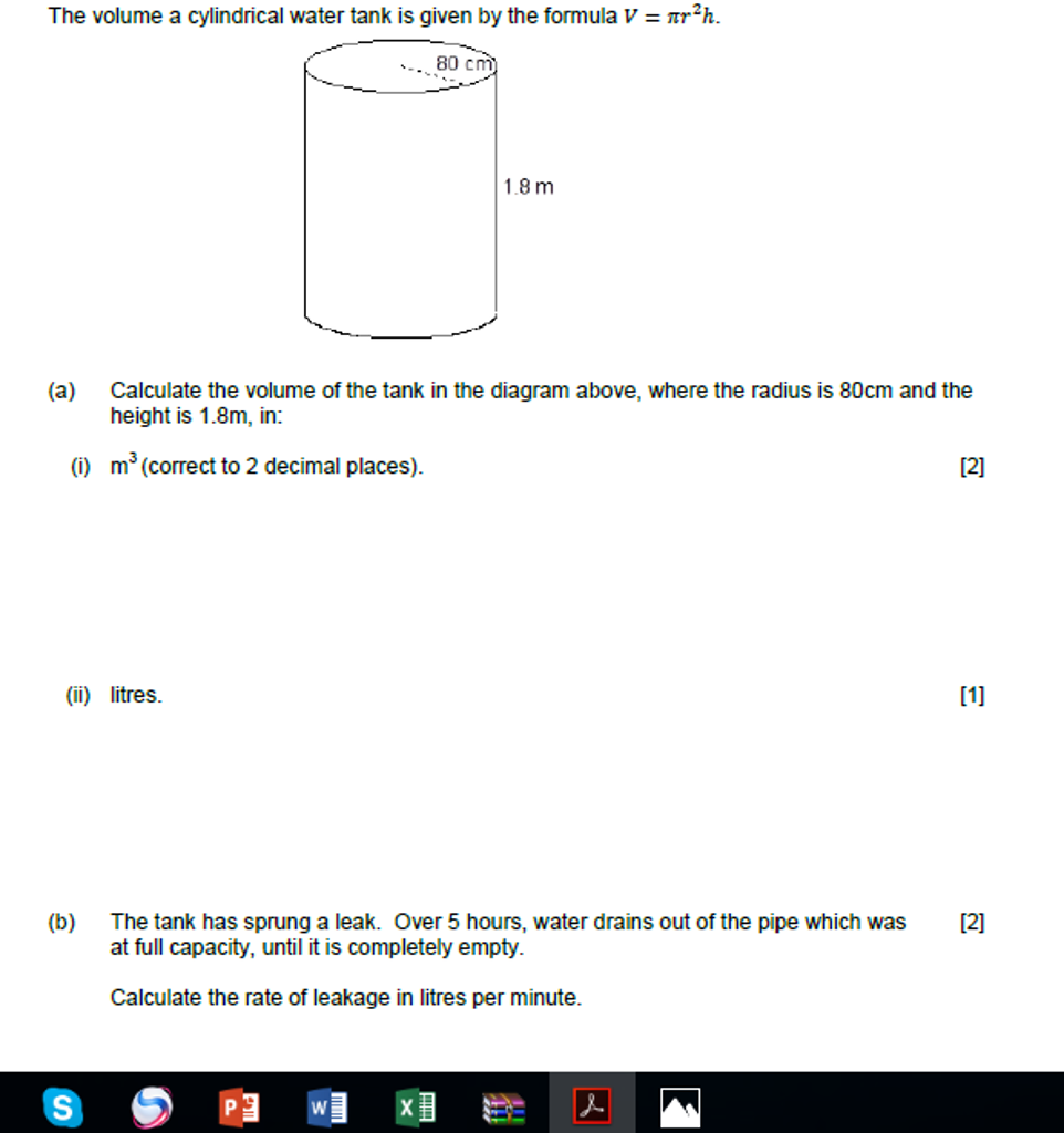 Solved: The Volume A Cylindrical Water Tank Is Given By Th