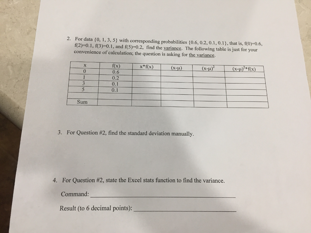 For Data Fo, 1, 3, 5) With Corresponding Probabilities F0