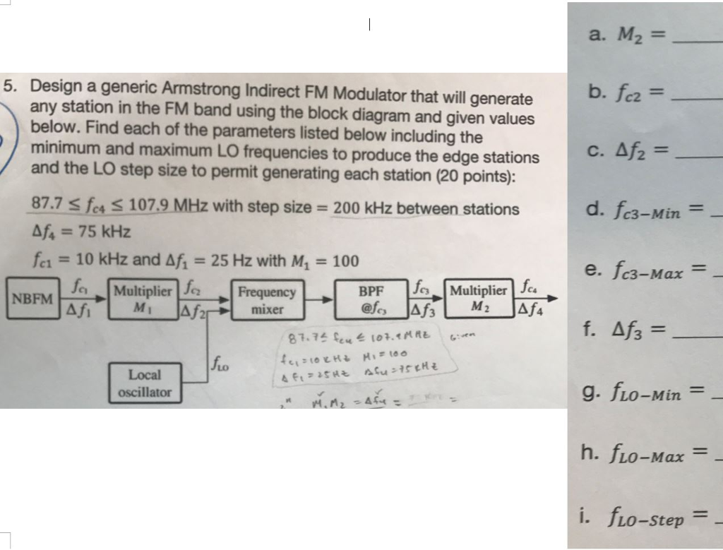 Solved Could I Please Obtain Some Assistance In Solving F Fm Modulator Block Diagram M2 Design A Generic Armstrong Indirect That Will Generate Any Station