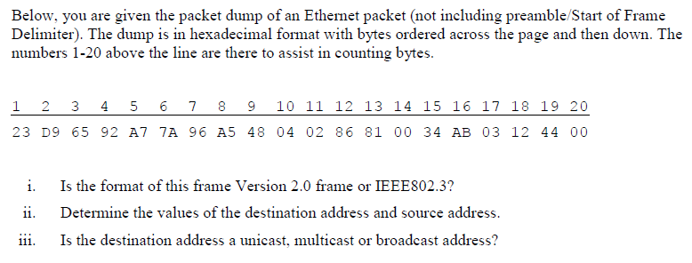 Solved: Below, You Are Given The Packet Dump Of An Etherne ...