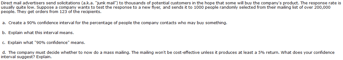Solved: Direct Mail Advertisers Send Solicitations (a k a