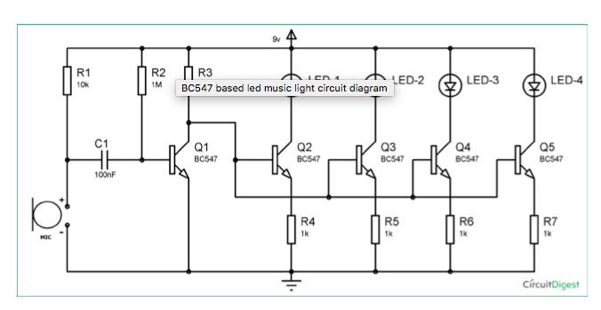 R1 10k LED-3 LED-4 IMBC547 Based Led Music Light C... | Chegg.com
