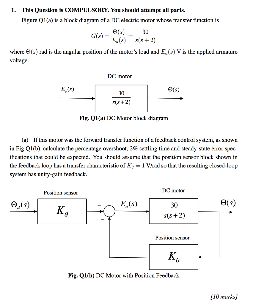 Solved Figure Q1 A Is Block Diagram Of Dc Electric Engine 1 This Question Compulsory You Should Attempt All Parts
