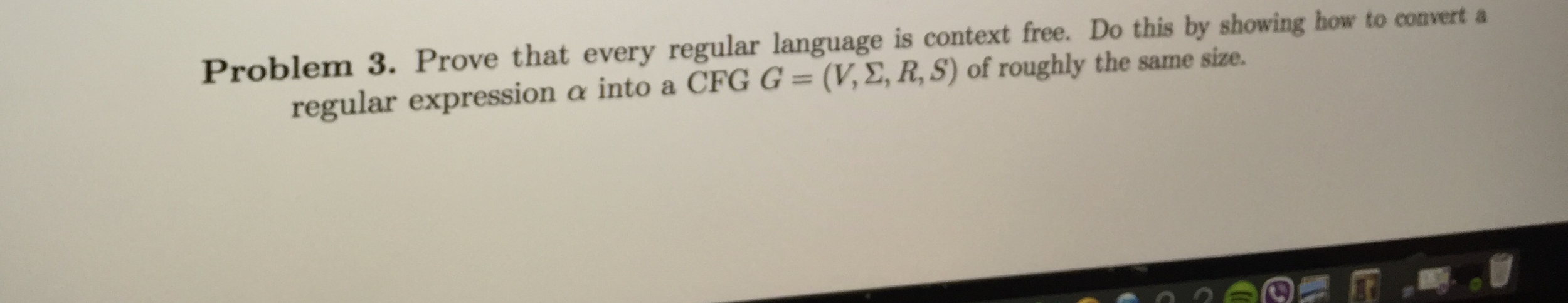 Prove that every regular language is context