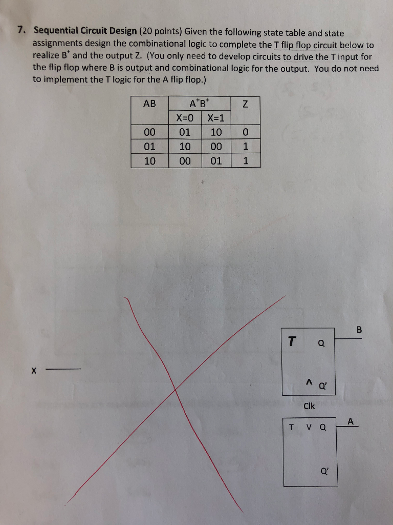 Solved Please Explain How To Get The T Flip Flop Logic I Diagram For Sequential Circuit Design 20 Points Given Following State Table And