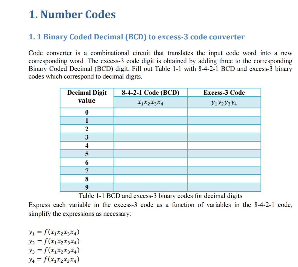 Solved Binary Coded Decimal Bcd To Excess 3 Code Conver
