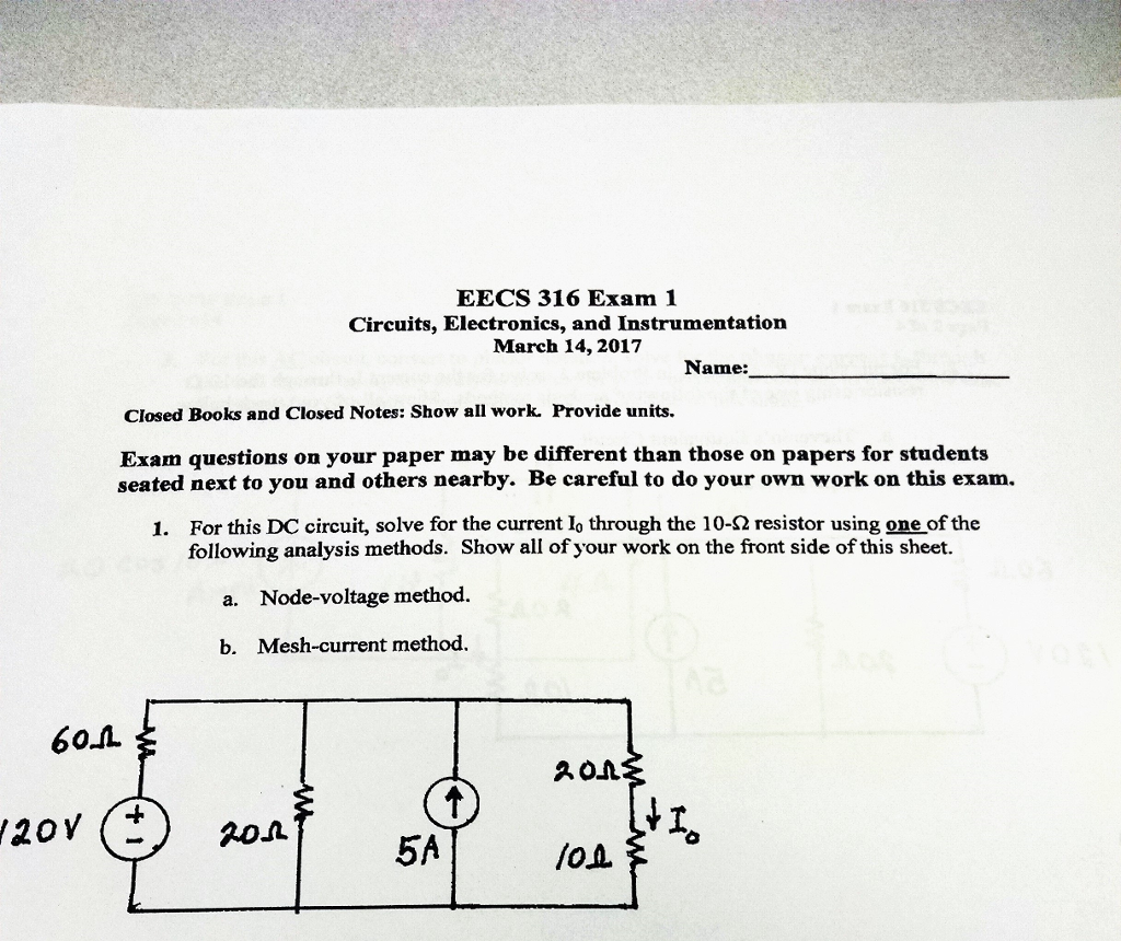 Solved 60 Eecs 316 Exam 1 Circuits Electronics And Inst For You Instrumentation March 14 2017 Name
