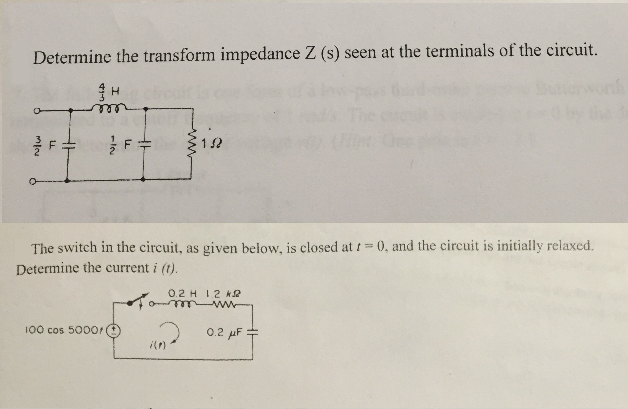Solved: Determine The Transform Impedance Z(s) Seen At The ...