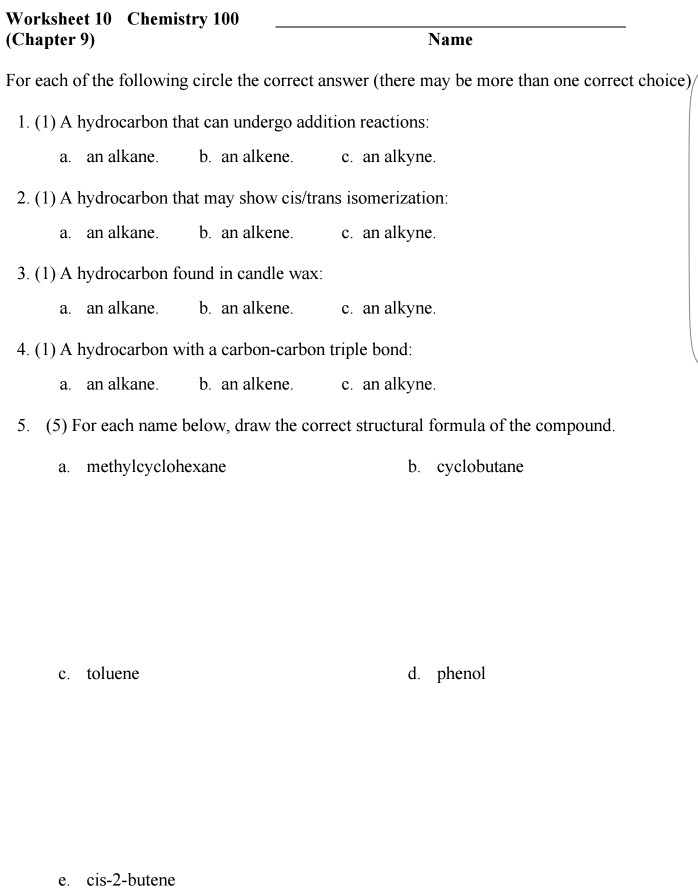 Solved Worksheet 10 Chemistry 100 Chapter 9 Name For Ea