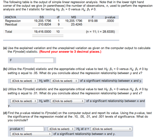 perform the following regression analysis using a 05 significance level