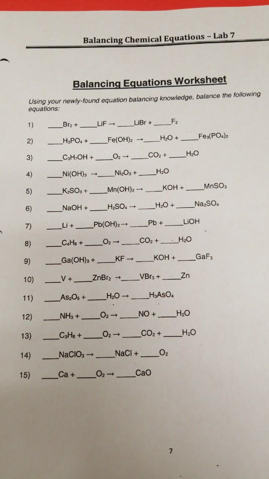 Solved Balancing Chemical Equations Lab 7 Balancing Equ Chegg Com