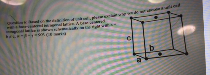 Solved: Based On The Definition Of Unit Cell, Please Expla ...