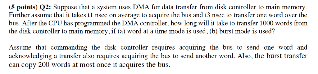 Solved 5 Points Q2 Suppose That A System Uses Dma For