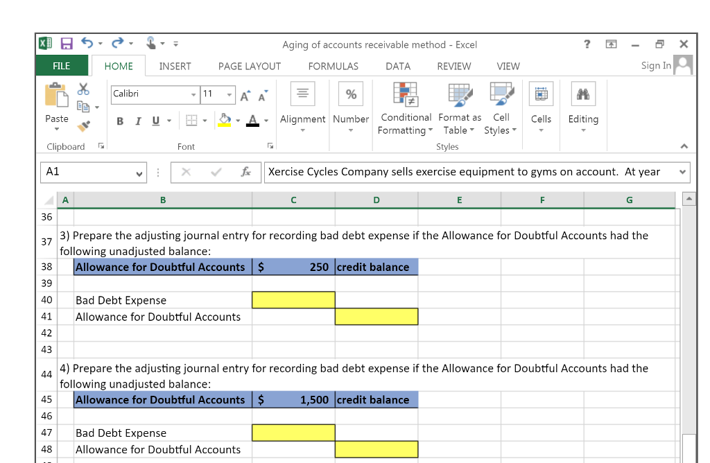 Aging Of Accounts Receivable Method - Excel FILE H