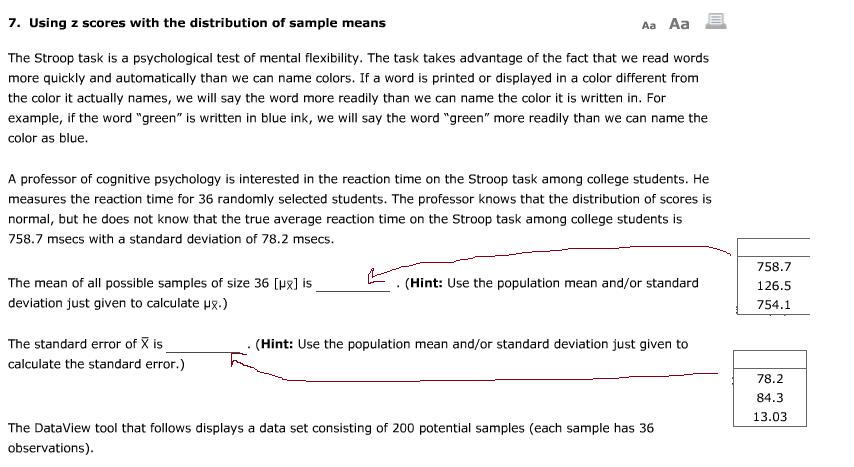 Solved: The Stroop Task Is A Psychological Test Of Mental