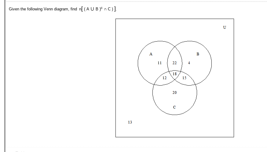 Solved Given The Following Venn Diagram Find N A U B