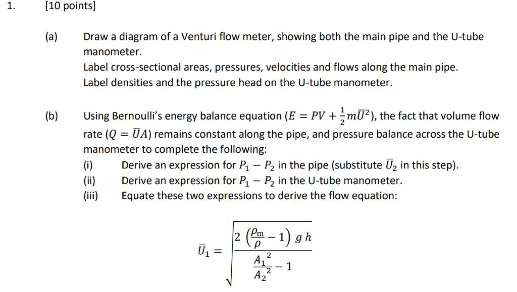 how to find pressure in a venturi tube