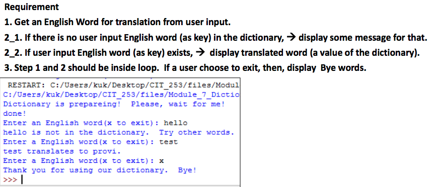Solved: #example Of Using A Dictionary To Store Words And