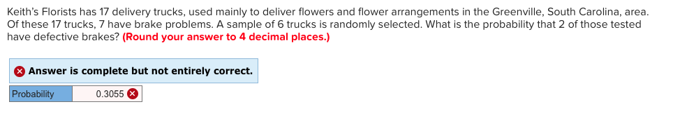 Statistics and probability archive february 04 2018 chegg keiths florists has 17 delivery trucks used mainly to deliver flowers and flower arrangements in fandeluxe Gallery