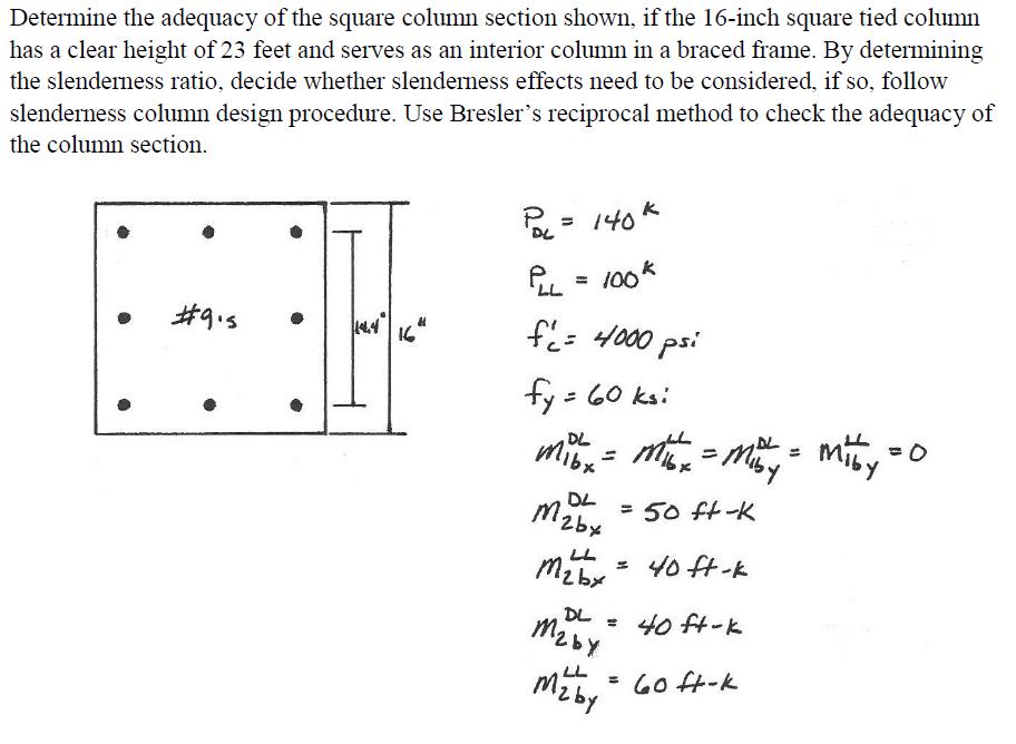 Determine The Adequacy Of The Square Column Sectio... | Chegg.com