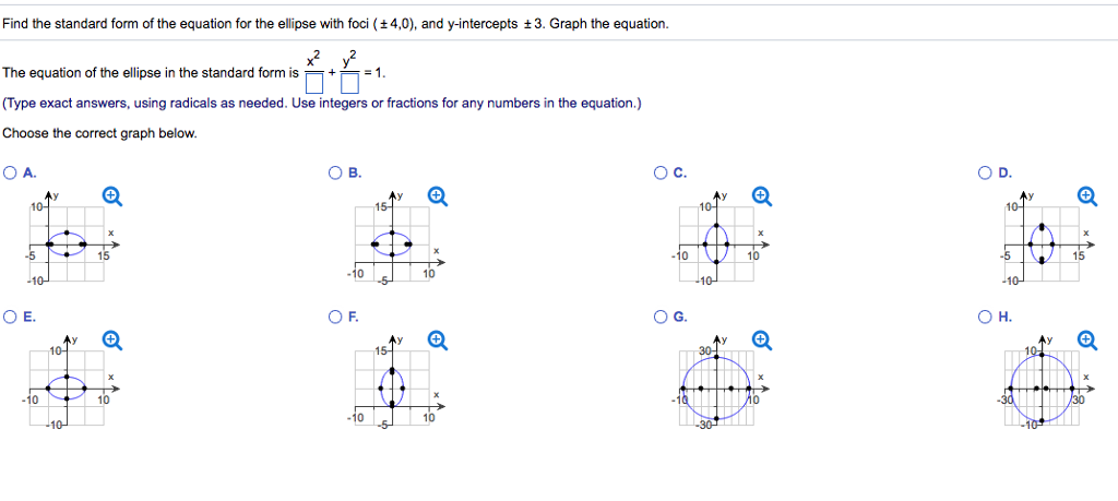 Solved Find The Standard Form Of The Equation For The Ell