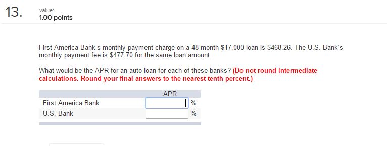 Solved: First America Bank's Monthly Payment Charge On A 4