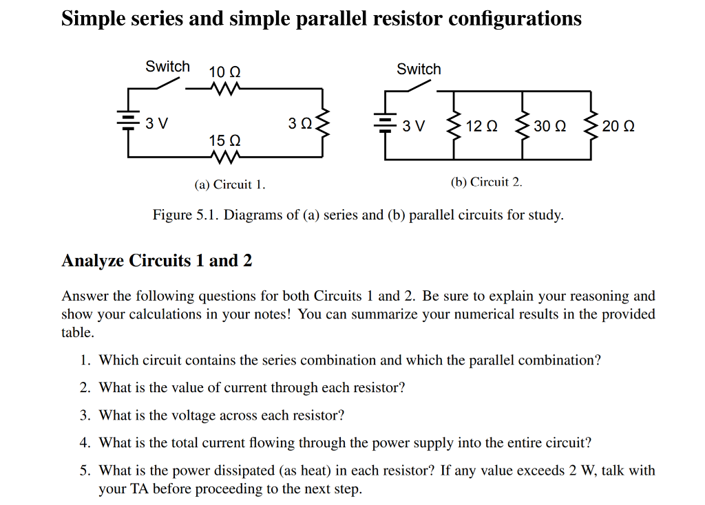 Solved: Simple Series And Simple Parallel Resistor Configu ... on