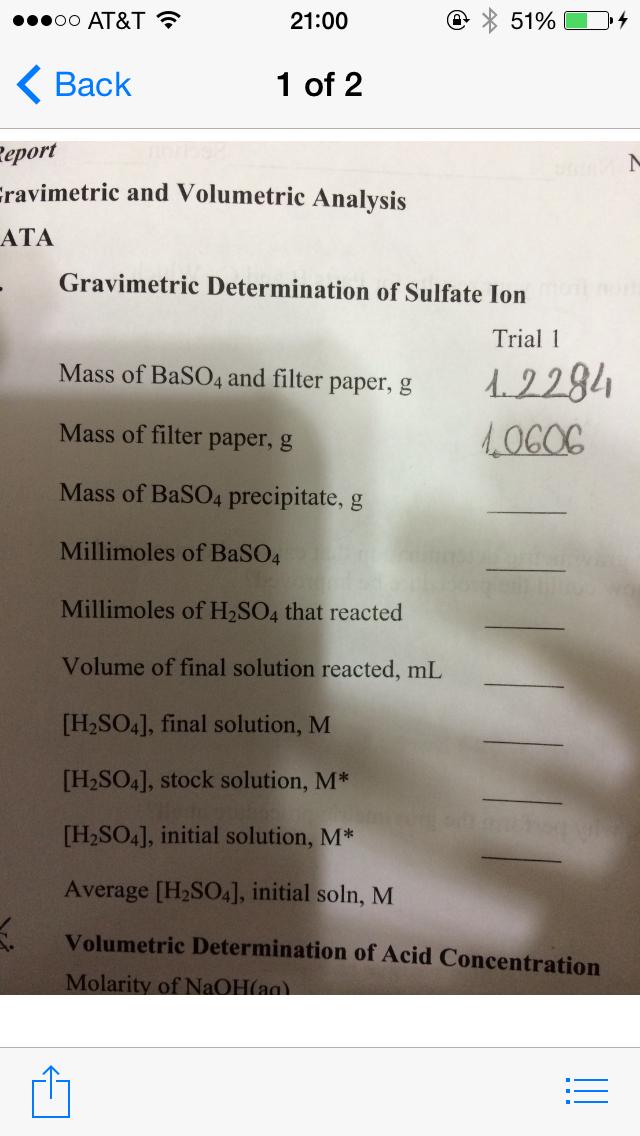 quantitative determination of sulphate by gravimetric Contents return to index of experiments pre-lab questions experiment post-lab questions top experiment 3: stoichiometry procedure a: gravimetric and quantitative measurements using barium sulfate.