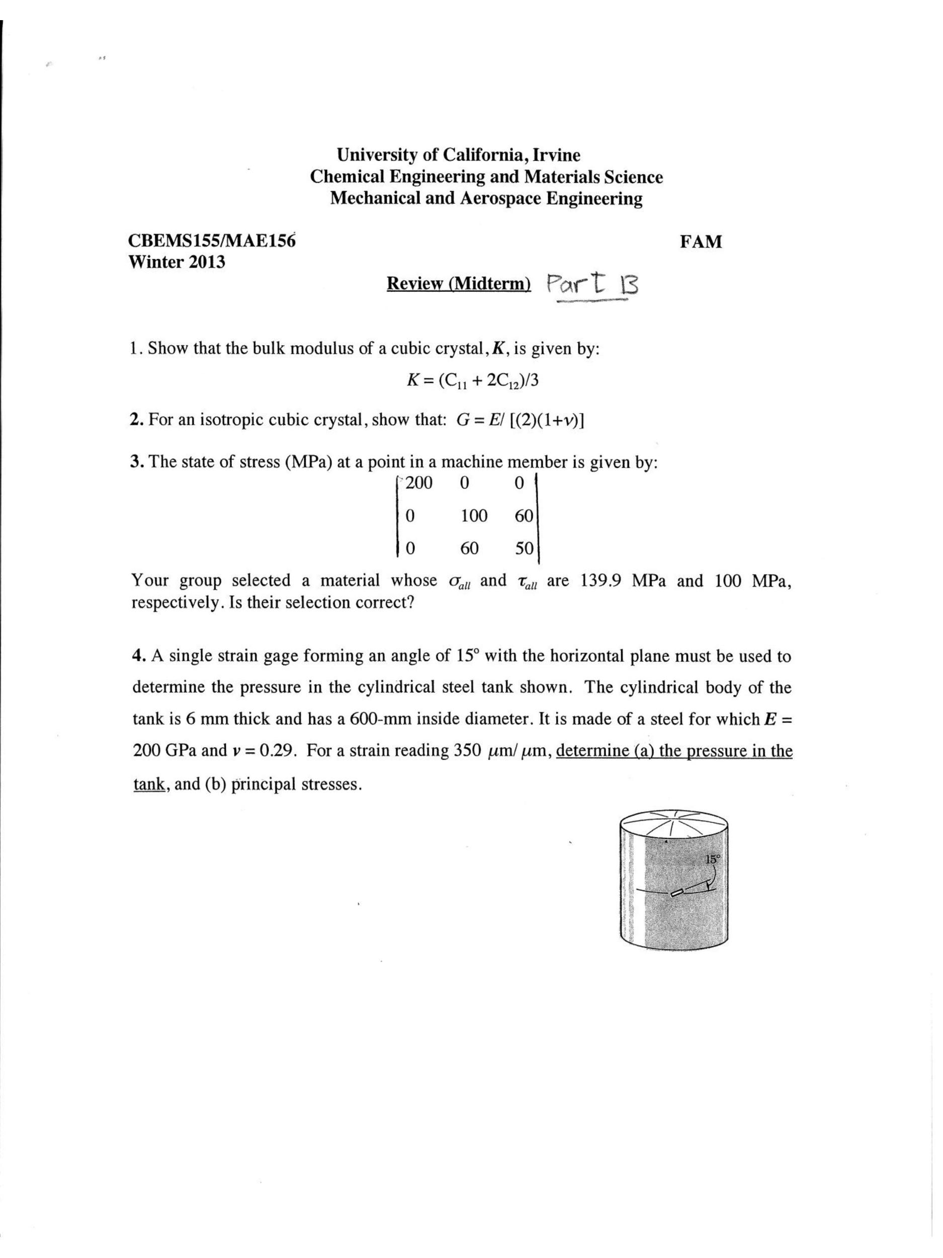 show that the bulk modulus of a cubic crystal k chegg com