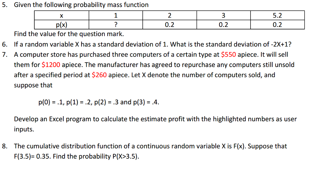 Given the following probability mass function find chegg given the following probability mass function x 1 d2 52 pix 02 02 ccuart Image collections