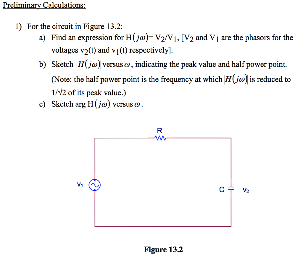 solved preliminary calculations 1 for the circuit in fi