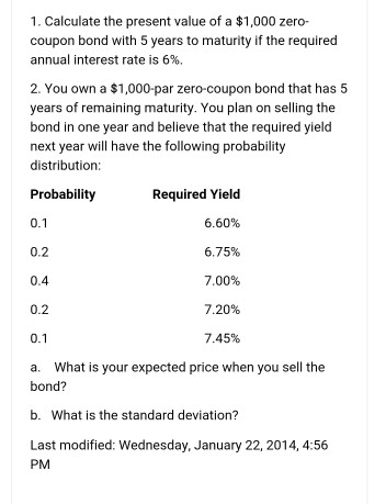 Zero coupon bond price calculation