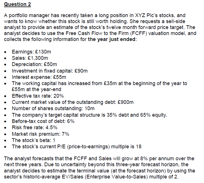 solved question 2 a portfolio manager has recently taken