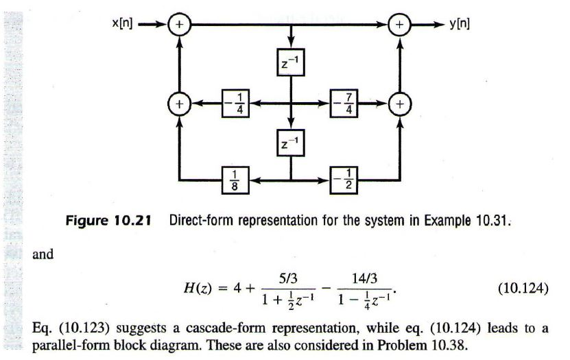 question: yln] figure 10 21 direct-form representation for the system in  example 10 31  and 14/3 5/3 (10 124) h(z) 4 1 z eq  (10 123 suggests a  cascade-form