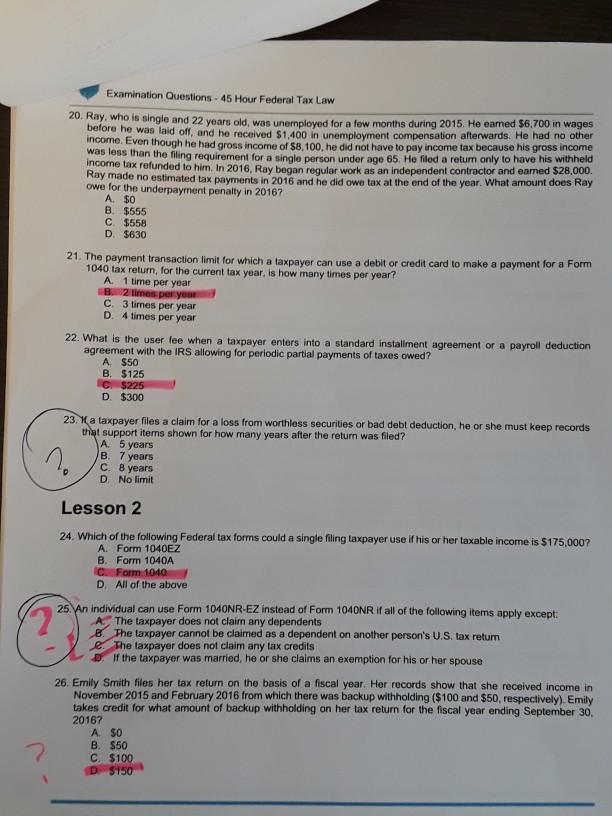 Solved Examination Questions 45 Hour Federal Tax Law Sing