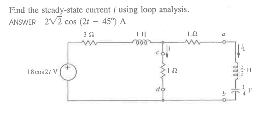 Find the steady-state current i using loop analysi