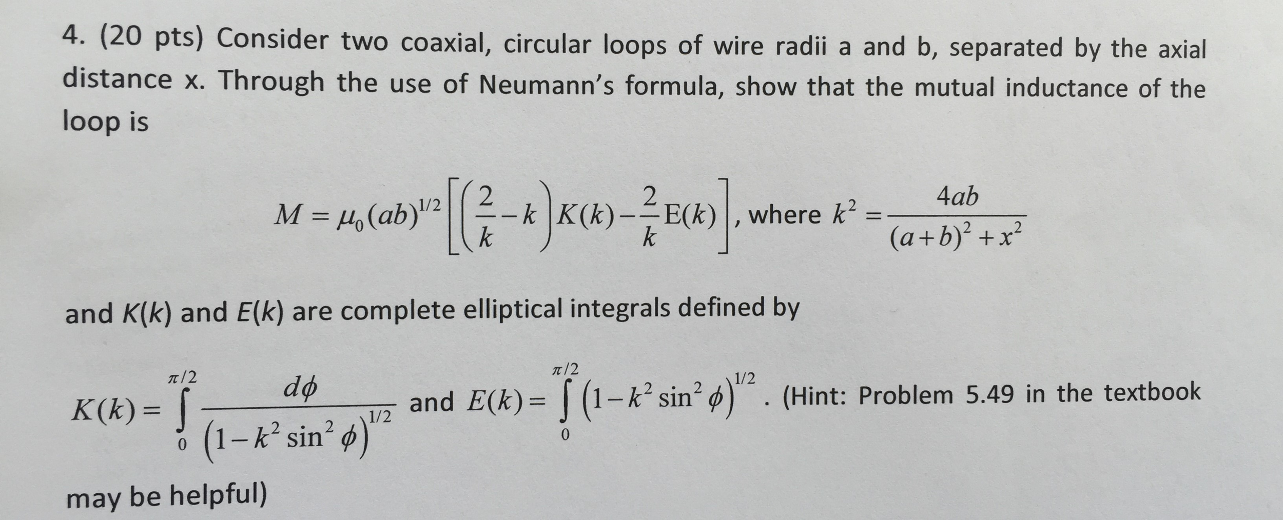 Solved: Consider Two Coaxial, Circular Loops Of Wire Radii ...