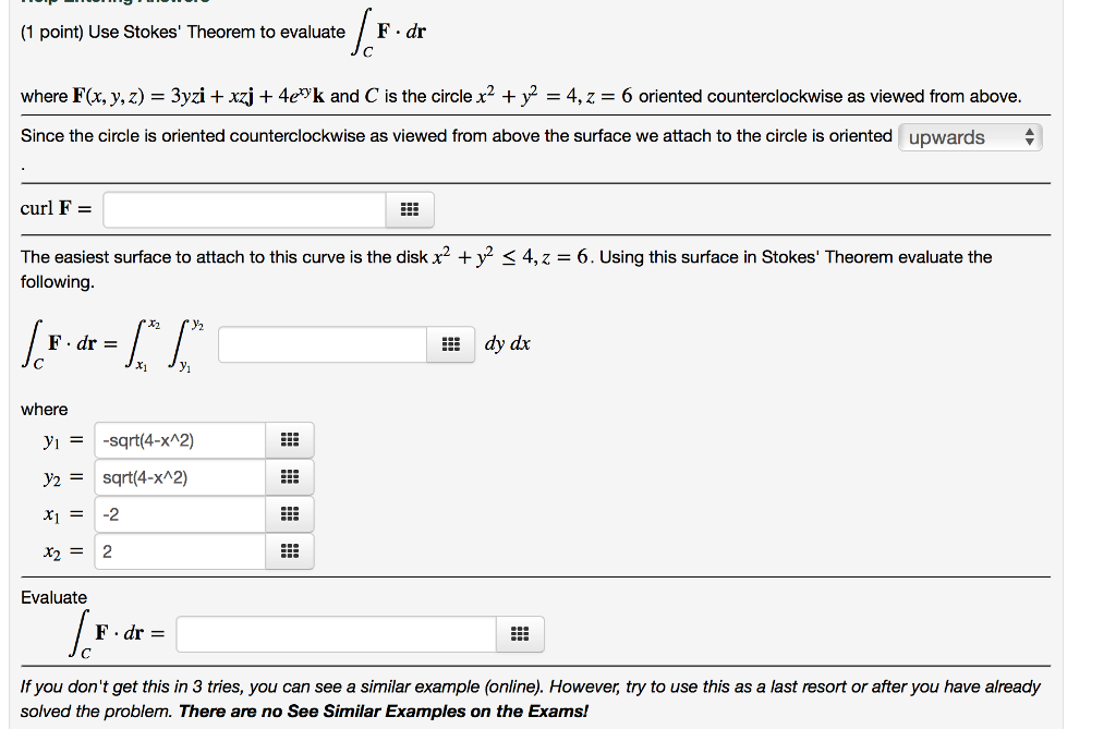 Solved: (1 Point) Use Stokes' Theorem To Evaluate / F. Dr ...