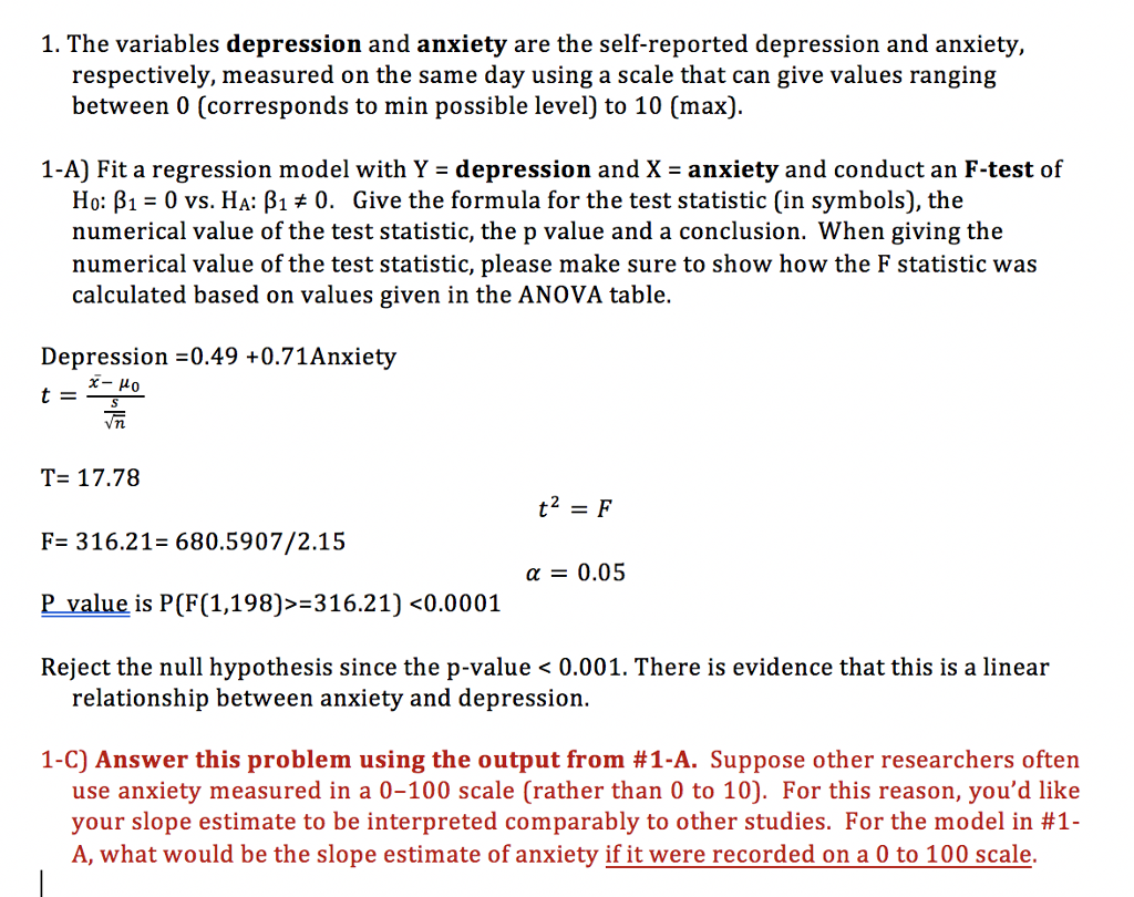 Solved The Variables Depression And Anxiety Are The Self