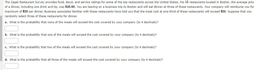 solved the zagat restaurant survey provides food decor