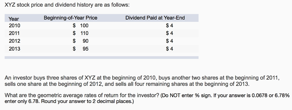 Solved Xyz Stock Price And Dividend History Are As Follow