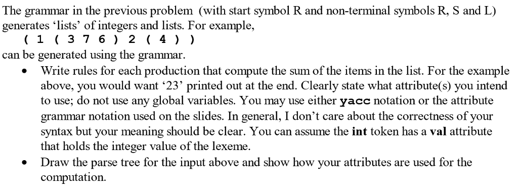 The Grammar In The Previous Problem With Start Sy Chegg