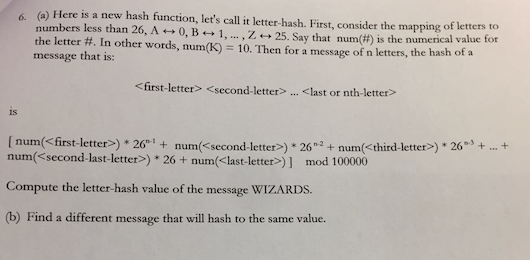 Solved: Here Is A New Hash Function, Let S Call It Letter