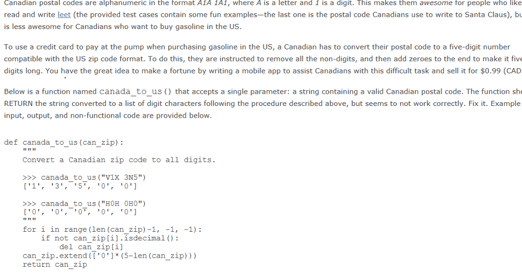 solved: canadian postal codes are alphanumeric in the form