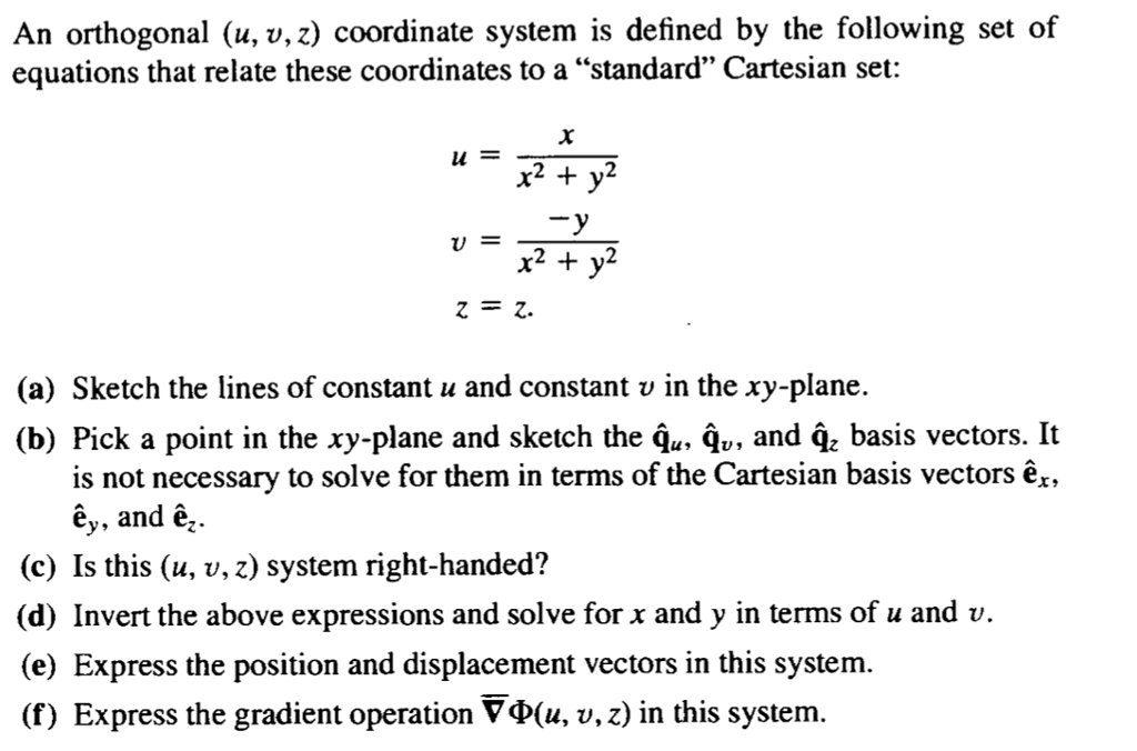 solved an orthogonal u v z coordinate system is defin