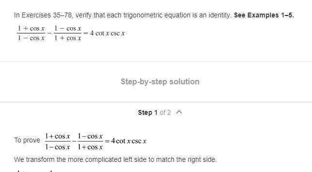Solved In Exercises 35 78 Verity That Each Trigonometric