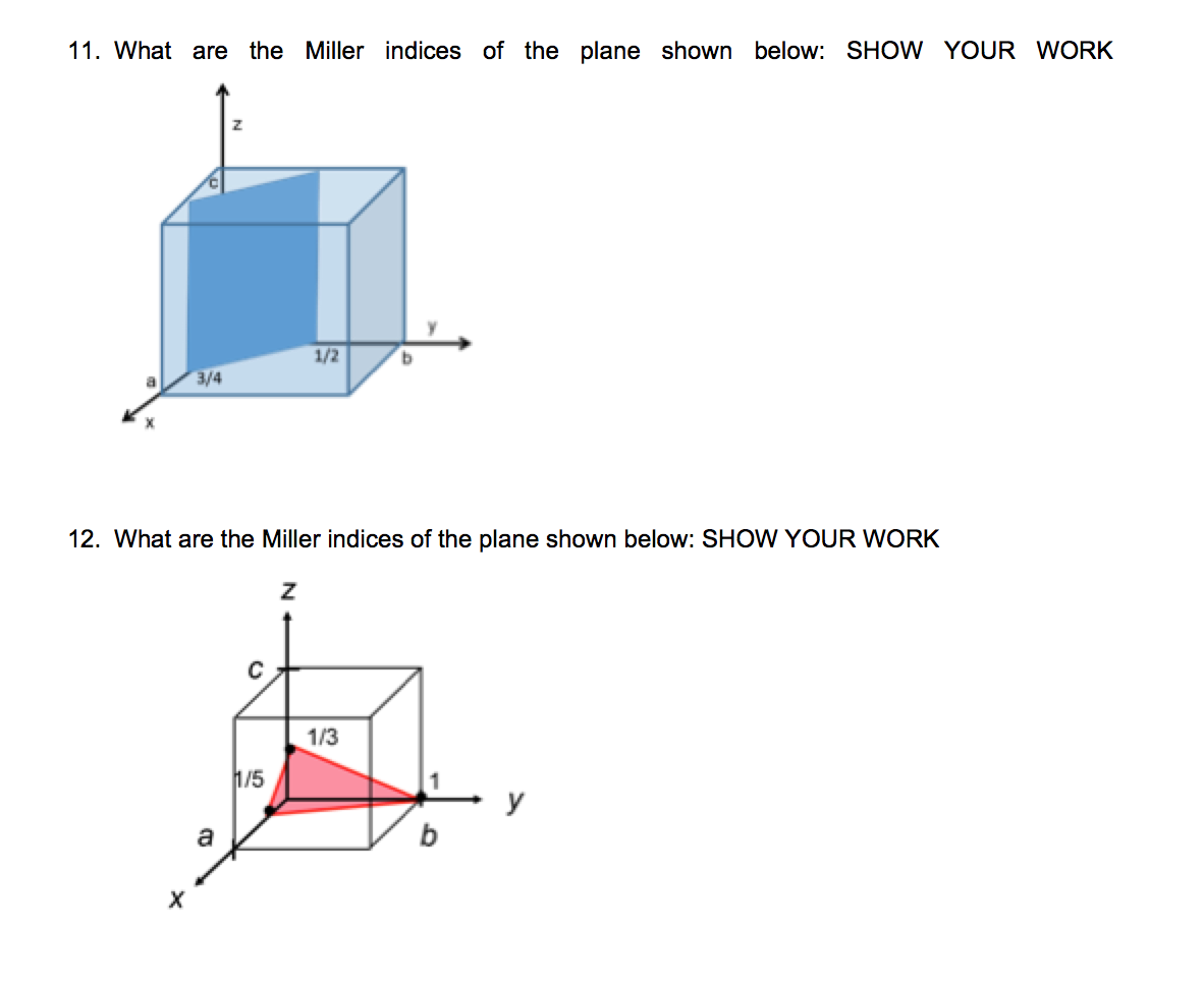 Solved 11 What Are The Miller Indices Of The Plane Shown