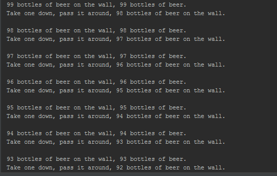 Write A Program That Prints The Entire Lyrics Of 99 Bottles Beer Your Should Include Recursive Method Does Hard Part