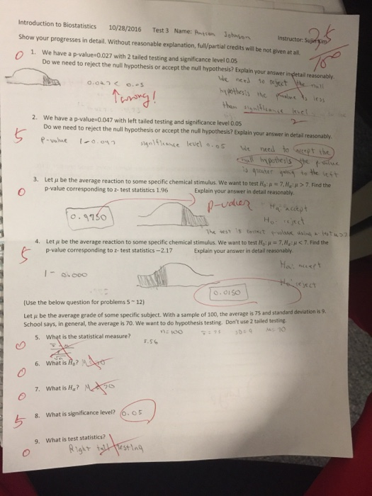 Solved: Introduction To Biostatistics 10/28/2016 Test 3 Na