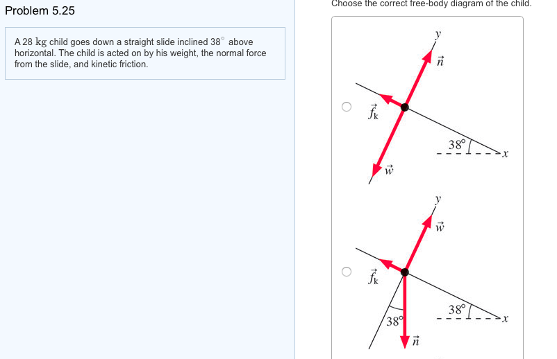 choose the correct free-body diagram of the child  problem 5 25 1 a 28